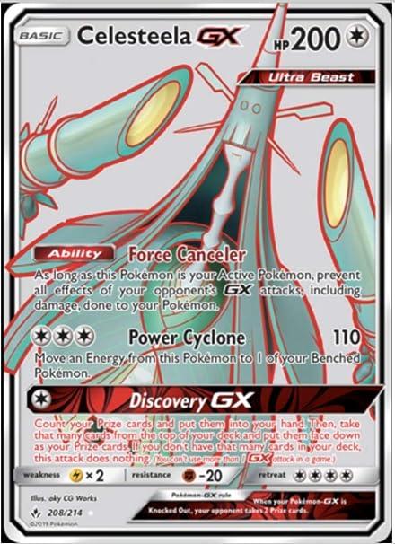 English Full Art Ultra Rare NM-Mint Pokemon Celesteela GX 208//214