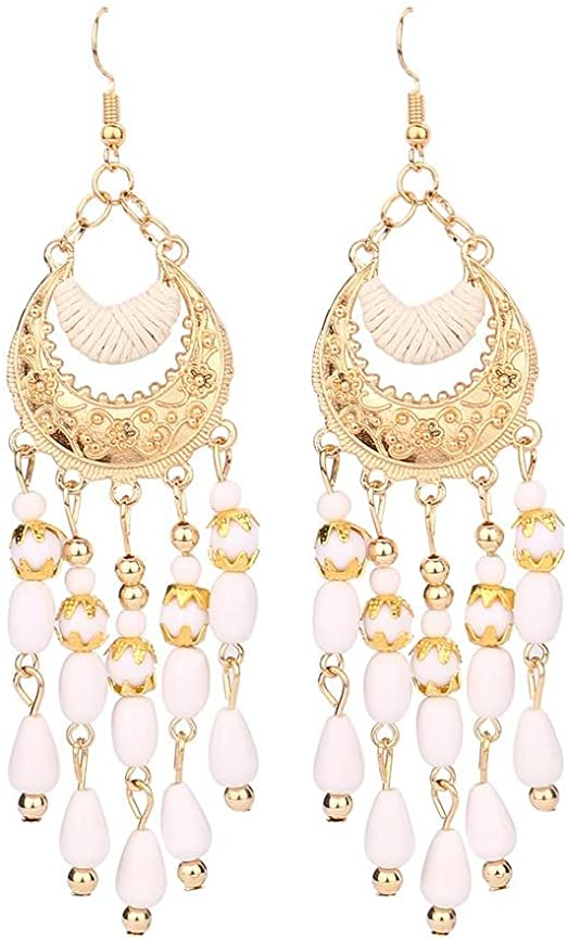 It/'s a Red Color Beads Golden Style Dangle Earrings for Women /& Girls