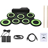 Muslady Compact Size Portable Digital Electronic Roll Up Drum Kit 7 Silicon Drum Pads USB Powered with Drumsticks Foot…