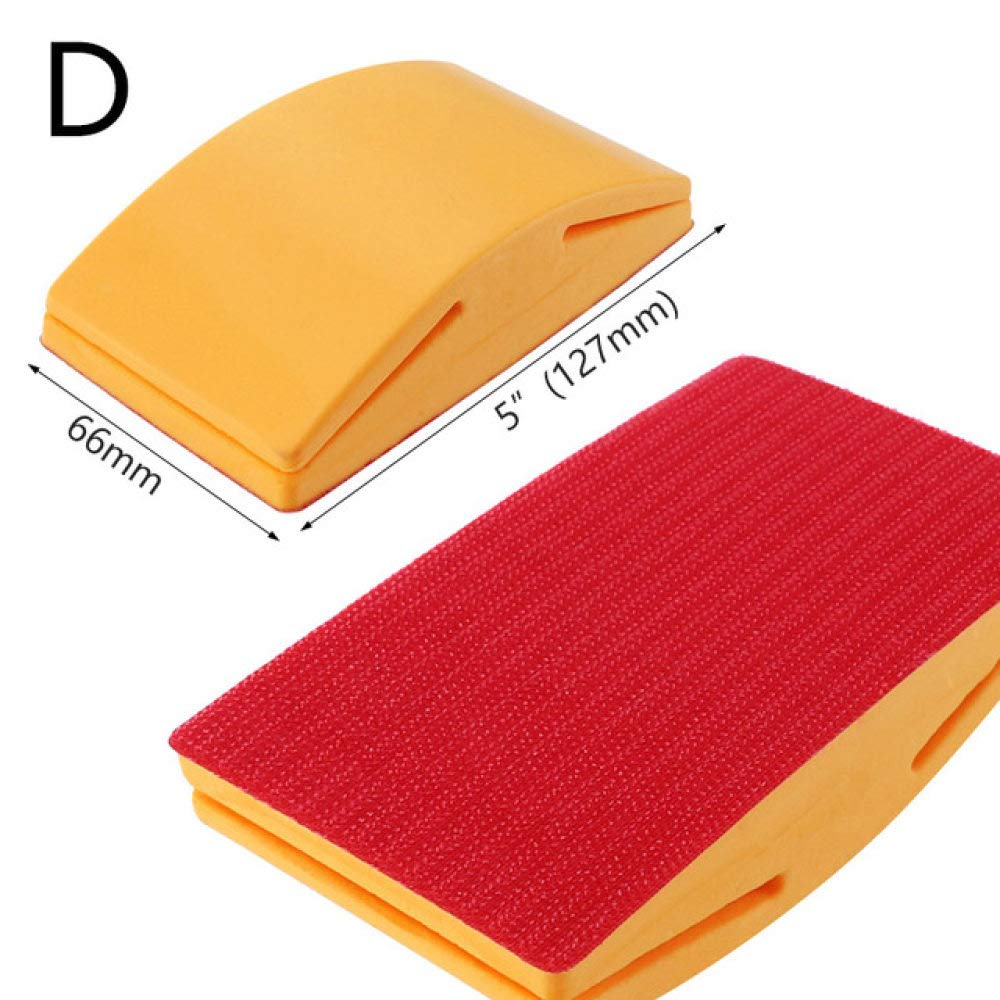 ZCZSDXB sandpaper-5 Inch Sanding Block Rubber Hook Loop Backing Pad Sandpaper Holder Hand Grinding Block Polishing Tools,D