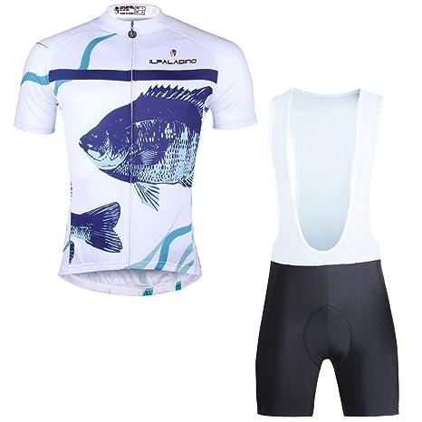 ILPALDINO Fish Pattern Men s White Short Sleeve Polyester Quick Dry Bicycle  Jersey And Bib Shorts Set 0a4250fd7