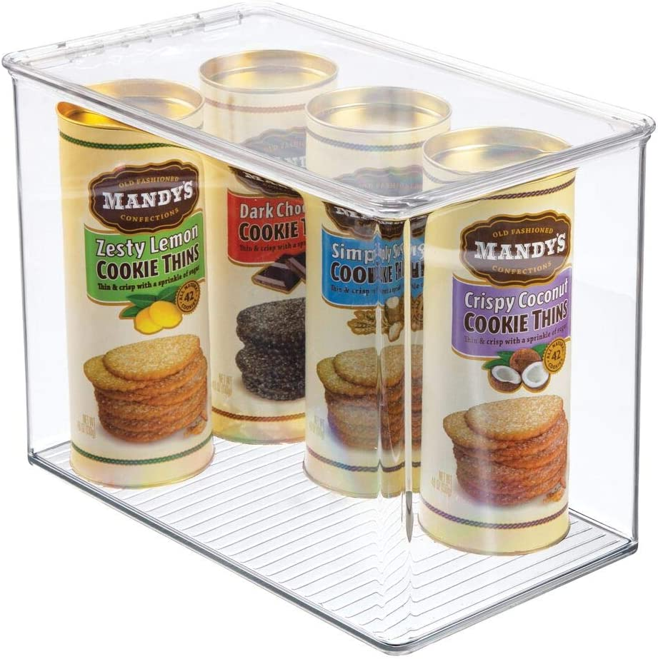 mDesign Plastic Stackable Kitchen Pantry Cabinet or Refrigerator Food Storage Container Bin, Attached Hinged Lid - Organizer for Snacks, Produce, Pasta - Deep Container - Clear