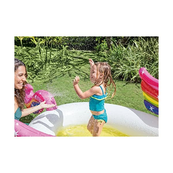 """Intex Mystic Unicorn Inflatable Spray Pool, 107"""" X 76"""" X 41"""", for Ages 2+ 5"""