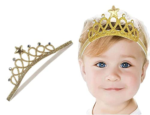 a06ea548e02 Ziory Golden Baby Girl Baby Boy Unisex Rhinestone Crown Headbands Toddler  Princess Headband Hair Accessories Birthday Gift Tiara Crown Headband   Amazon.in  ...