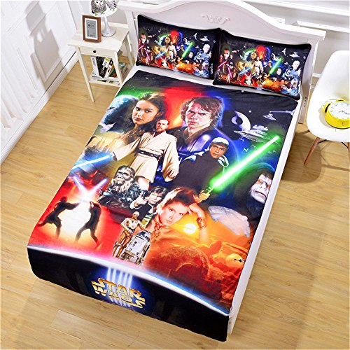 Luxury Soft Brushed 1500 Series Microfiber Duvet Cover Set, 3D Print Star Wars Pattern Hotel Quality & Hypoallergenic with Zipper Closure & Matching Shams by S Hotel Collection