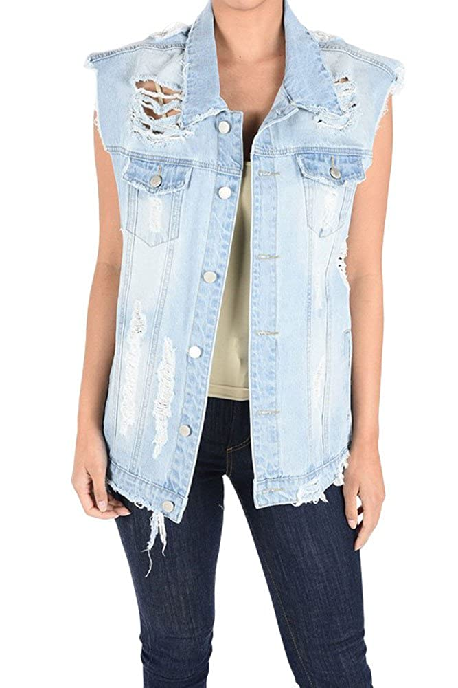 American Bazi G-Style USA Women's Oversized Destroyed Denim Vest