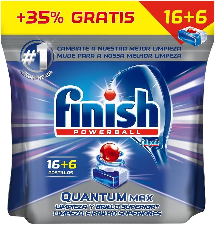 22 pastillas de lavavajillas Finish Powerball Quantum Max por sólo 4,09€