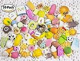 WATINC Random 10 pcs Squishy Cream Scented Slow Rising Kawaii Simulation bread children toy Jumbo Medium Mini Soft squishies Cake/Panda/Bread/Buns Phone Straps (10P Donuts)