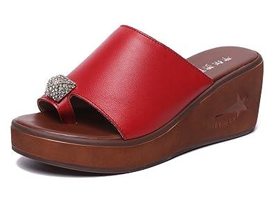 best website 66b5f 58072 SHOWHOW Damen Strass Single Toe-Sandalen Keilabsatz Clogs ...