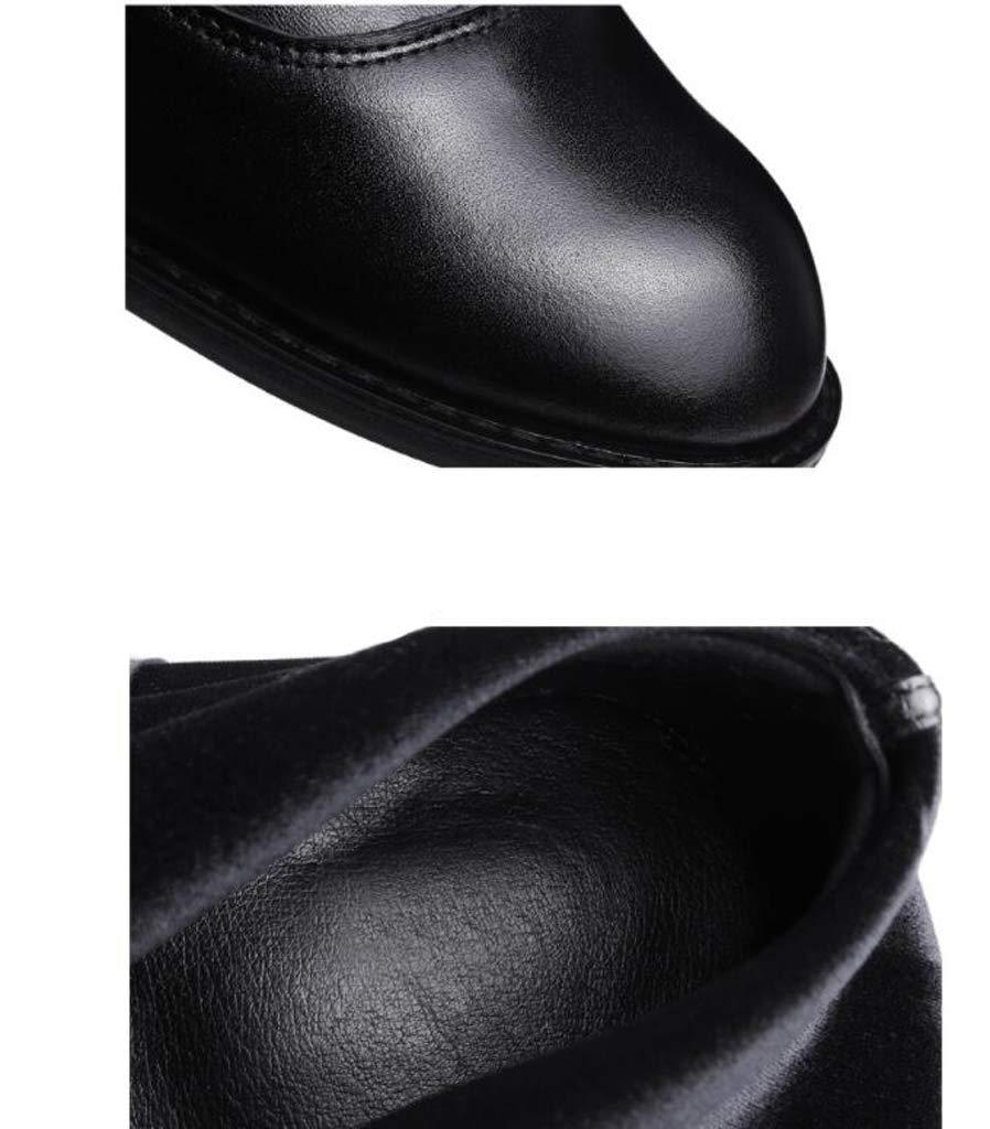 XHCP Stiefel Stiefel Stiefel Herbst Und Winter Front Reißverschluss Schlanke Dame Flach Unten Über Den Knie Stiefeln Elastische Stiefel Stiefel Leder Damenstiefel,36 a6ac31