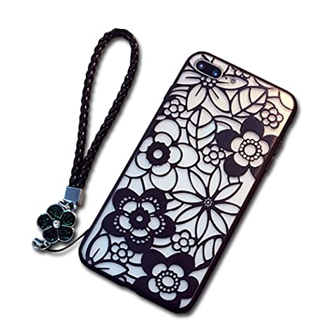 70a7d50d4b Amazon   Spinas(スピナス)iPhone ケース 花柄 切り絵 風 デザイン 半 ...