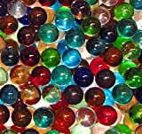 "Unique & Custom {9/16'' Inch} 1 Pound Set Of 120 Small ""Round"" Clear Marbles Made of Glass for Filling Vases, Games & Decor w/ Creative Random Cool Iridescent Versatile Design [Assorted Colors]"