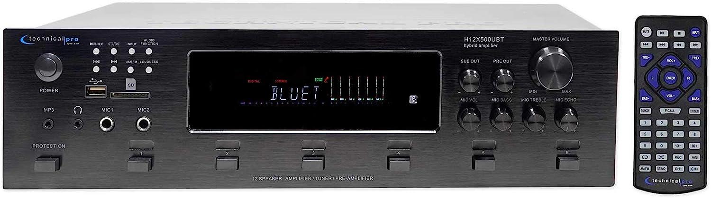 SD+ Mics 2 Technical Pro 6000 Watt Bluetooth Karaoke Amplifier Receiver w//USB