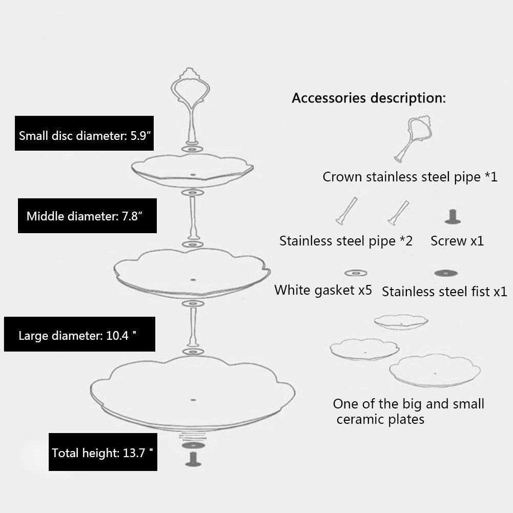 Agyvvt 3-Tier Cake Stand Fruit Plate Cupcake Ceramics Stand White for Cakes Desserts Fruits Candy Buffet Stand for Wedding & Home & Birthday Party Serving Platter (3 Tier Round Crown, Silver)