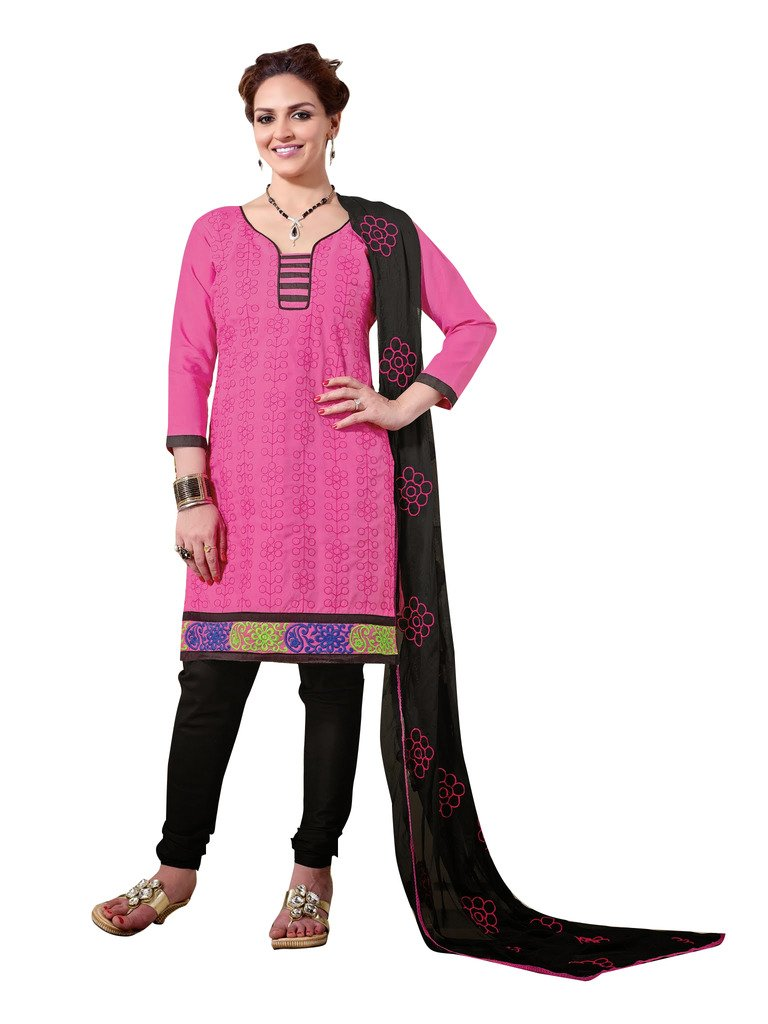 Areum Unstitched Pink Black Embroidery Cotton Dress Material