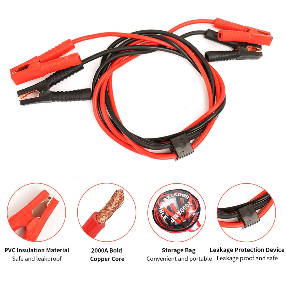 Heavy Duty Jumper Cable MANLI Booster Cables 2 Gauge 10ft 2000Amp Emergency Battery Booster Car Jump Start Cables