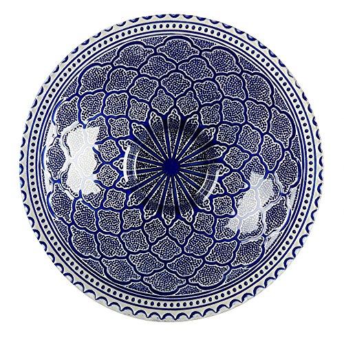 (Tunisia Hand Painted Glass Quatrefoil Decorative Serving Fruit Bowl (12
