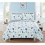 2pc Blue White Seashells Themed Quilt Twin Set, Coastal Bedding Beach Ocean Sea Shells Starfish Corals Pink Hawaii Tropical Sealife, Stripes Cotton Polyester