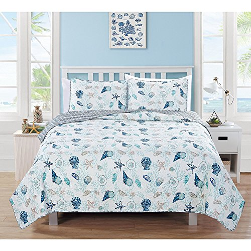 3pc Blue White Seashells Themed Quilt Full Queen Set, Stripes Cotton Polyester, Coastal Bedding Beach Ocean Sea Shells Starfish Corals Pink Hawaii Tropical Sealife by Unknown