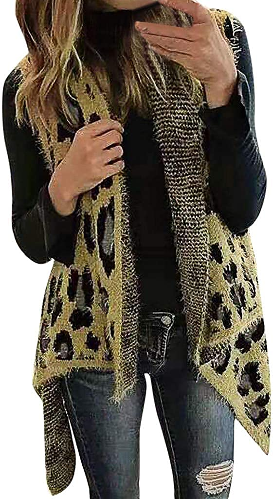 Womens Leopard Irregular Hem Sleeveless Cardigan Vest Coat Jacket with Pockets