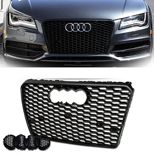 VXMOTOR for 2012-2014 Audi A7/S7 - Euro Black Blk Rs-Honeycomb Mesh Bumper Cover Grill Grille Guard Kit W/Emblem Base ()
