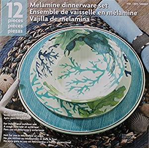 melamine bluegreen sea life 12piece dinnerware set 4 dinner plates 4 salad plates and 4 bowls - Melamine Dinner Plates