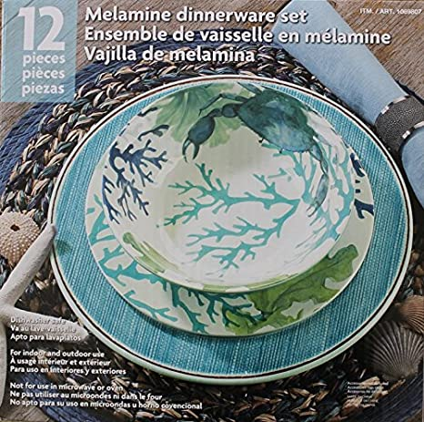 Melamine Blue/Green Sea Life 12-Piece Dinnerware set - 4 Dinner plates : green and white dinnerware - pezcame.com