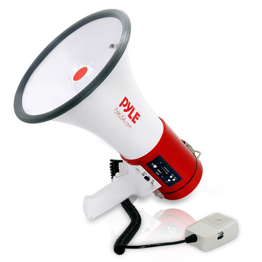Pyle-Pro Home 50W Professional Megaphone with Built-in Rechargeable Battery and USB/SD Memory Readers, White, Large PMP57LIA Sound Around