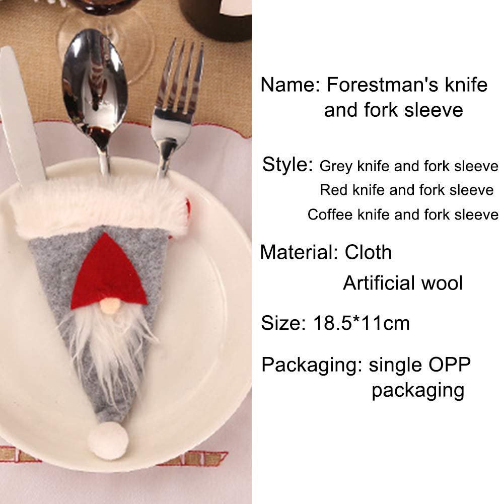 ybbghio Gnome Christmas Hat Silverware Holder Cutlery Bag Tableware Poket Hanging Decor Christmas Gift Red