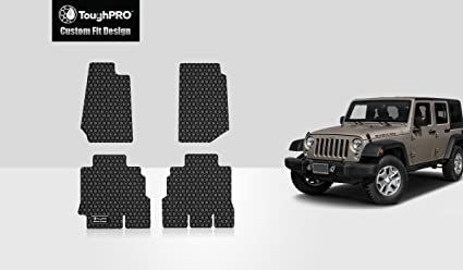 ToughPRO Jeep Wrangler Floor Mats Set  All Weather   Heavy Duty   Black  Rubber