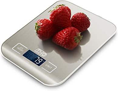 Digital Kitchen Food Scale, TNO Small Electronic Multifunction Scale, (1g-5kg) Weight Grams and Oz for Baking and Cooking,Support Milk Volume Measurement, Remove The Tare, Silver (Included Batteries)