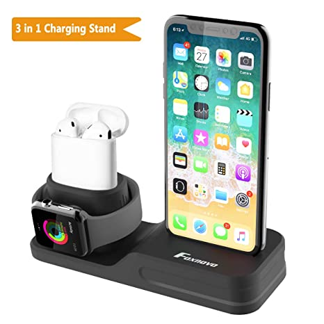 811f86011f0 Foxnovo Stand 3 in 1 per Apple Watch, iPhone e Air Pods in Silicone atossico
