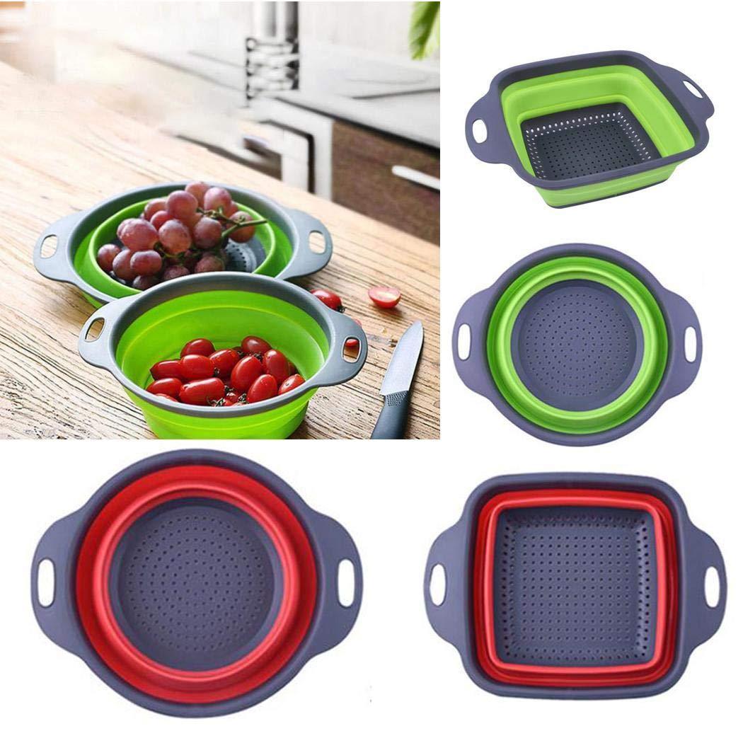fanddy Home Kitchen Retractable Foldable Fruit Vegetables Washing Basket Silicone Storage Basket Shelf Baskets