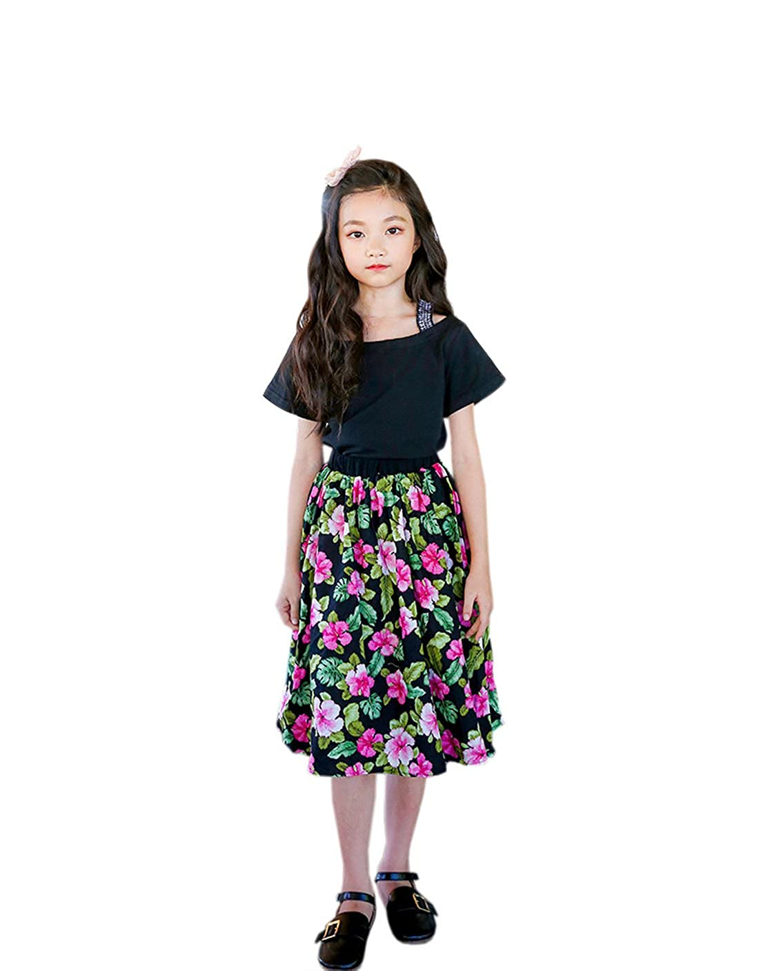 YueLian Girls Bohenim Pink Flowers Elastic Waist Knee-Length Short Skirt