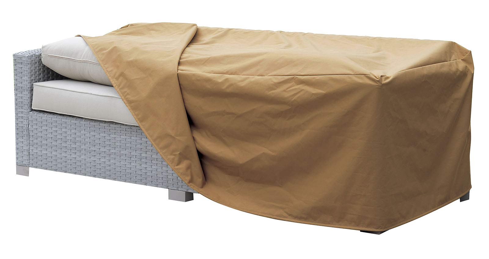 Benzara BM183735 Waterproof Fabric Dust Cover for Outdoor Sofa, Brown
