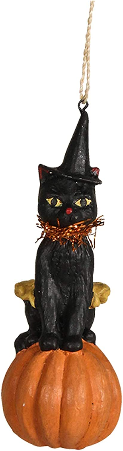 """Bethany Lowe 3"""" Black Patches Cat On Pumpkin Ornament Retro Vintage Style Halloween Decor"""
