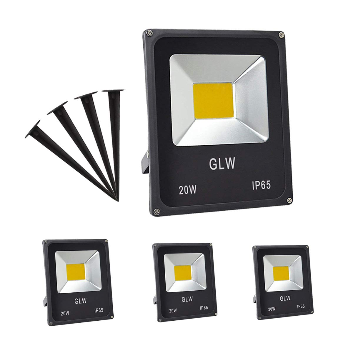 GLW 20W LED Landscape Lights 12V Flood Light Warm White 3000K Low Voltage AC/DC Waterproof Garden Yard Path Lights Walls Trees Flags Outdoor Spotlights with Spike Stand (4 Pack)
