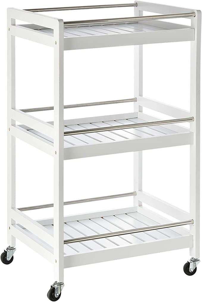 HOMCOM 4-Tier Moving Trolley Cart MDF Wood Blend w//Tray Shelves 4 Universal Wheels Home Kitchen Office Storage Island Unit White Brown