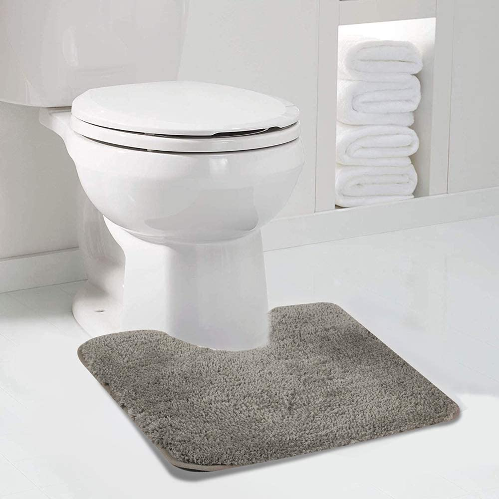 Walensee Bathroom Contour Rug (20x24, Taupe Grey) Non Slip Bath Mat for Bathroom Water Absorbent Soft Microfiber Shaggy Bathroom Mat Machine Washable Bath Rug for Bathroom U Shape Toilet Rug