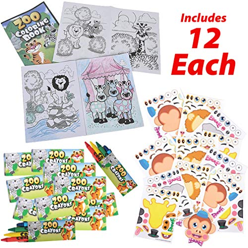 AbbyRose Zoo Animal Coloring Book Set with Crayons + Make-a-Zoo Animal Sticker Sheets | For 12 Kids | Party Favor Sticker | Safari, Circus, Jungle Theme Party Supplies