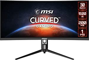 "MSI Full HD Non-Glare 1ms 2560 x 1080 Ultra Wide 200Hz Refresh Rate HDR Ready USB/DP/HDMI Smart Headset Hanger FreeSync 30""Gaming Curved Monitor (Optix MAG301CR) - Black"
