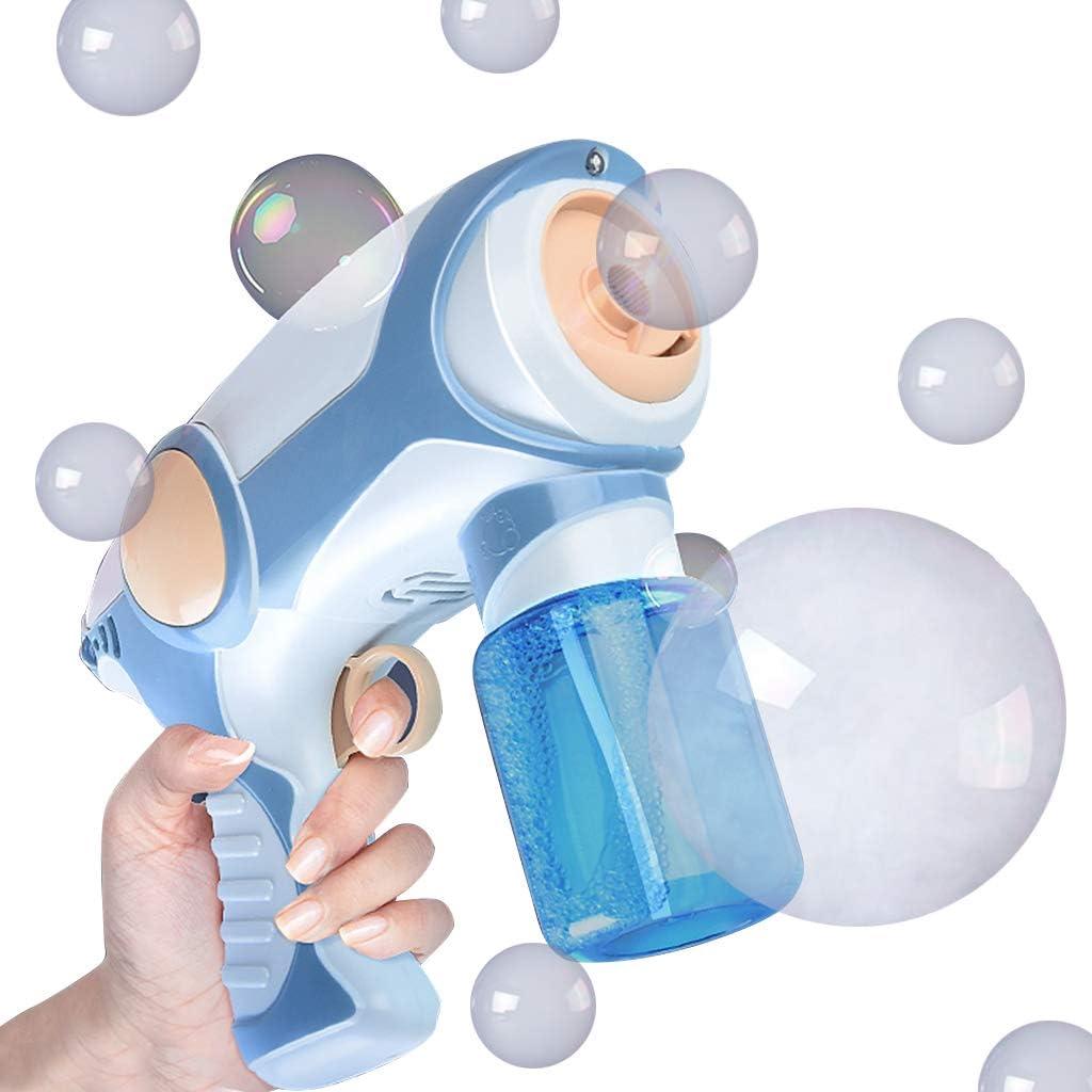 Máquina de Burbujas con luz, música y muchos Burbujas, Pistola de Burbujas de humo Saludable Soplador de burbujas Automática, Juguete de Regalo para Verano al Aire Libre para Niños (Azul)