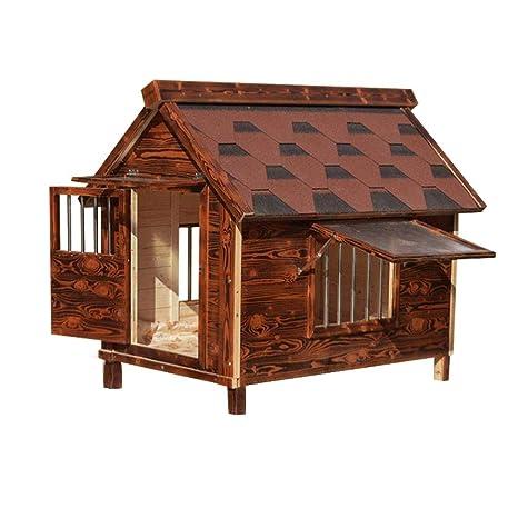 YANQ Exterior Exterior Exterior Madera Maciza Carbón de Madera Casa de Madera Madera Caseta para Perros