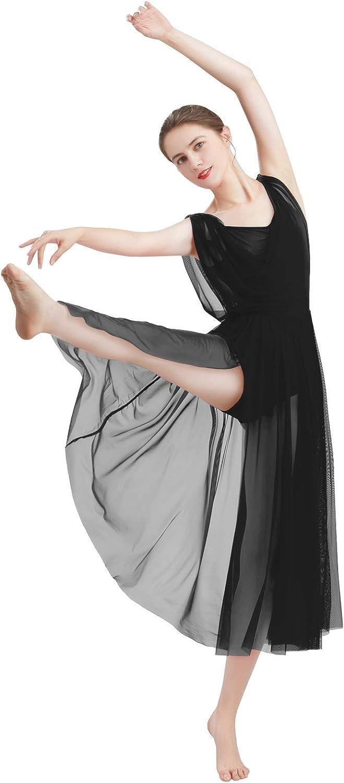 ODASDO Women Lyrical Modern Contemporary Dance Costume Leotard V-Neck Backless Split Tulle Skirt Flowy Overlay Dress: Clothing