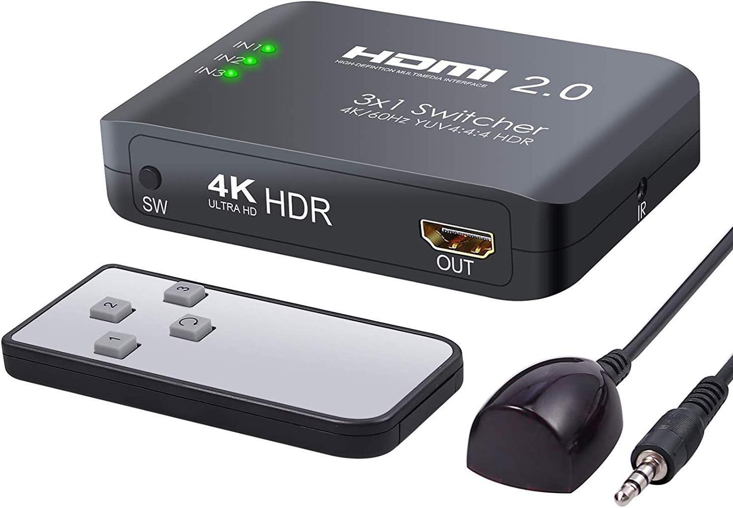 ICT HDMI 2.0 4K Ultra HD HDR3 en 1 Puerto HDMI Switch Hub Splitter Ultra HD para PC HDTV: Amazon.es: Electrónica