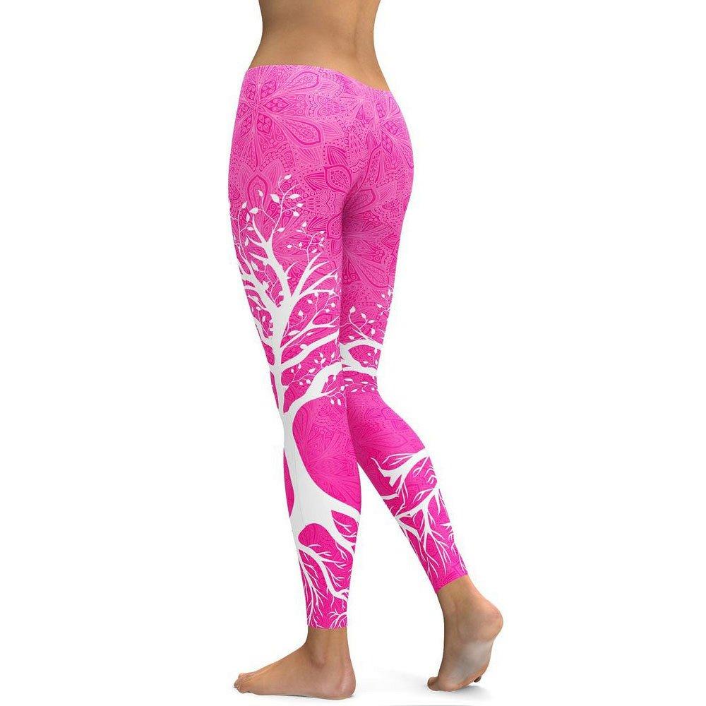 Jhualeek Women's Twig Print High Waist Leggings Running Tummy Control Yoga Pants (S, Hot Pink)