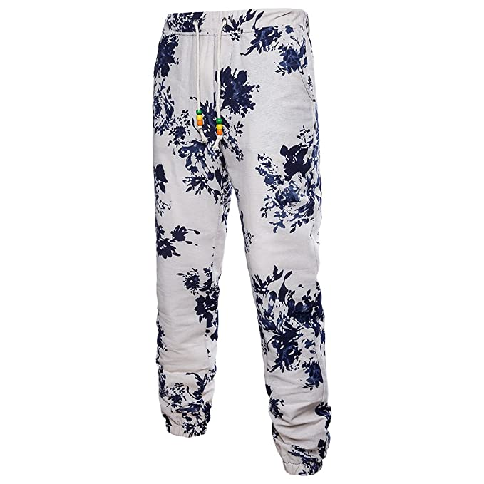 Zhhlaixing Hombres Transpirable Cool Lino Casual Deportes Pantalones Plus Size Fashion Printing Trousers para Adolescentes eGrodf