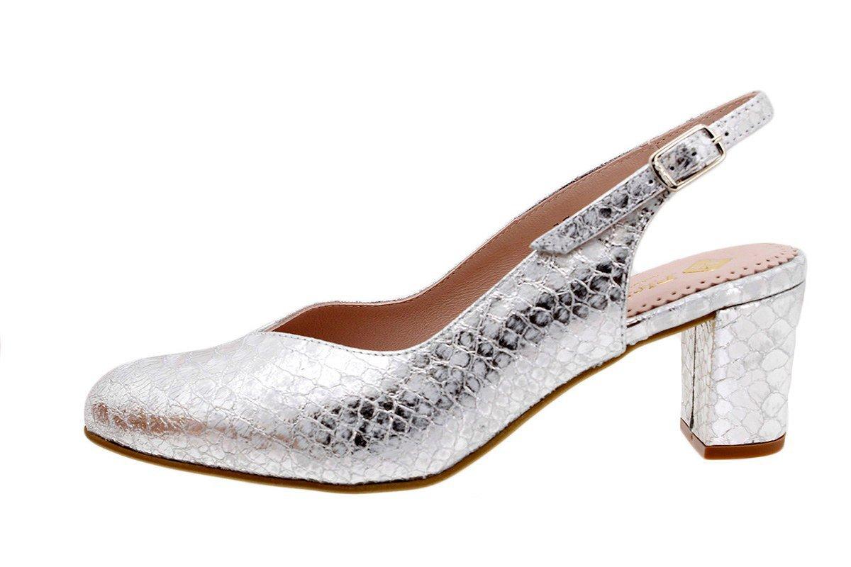 PieSanto Salón Grabado Nude 180229 Zapato Confort 39 EU|Boalux Plata