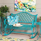 Cape Craftsmen Beautiful Springtime Colorful Turquoise Rocking Brushed Metal Garden Bench - 45 x 34 x 39 Inches Fade and Weat