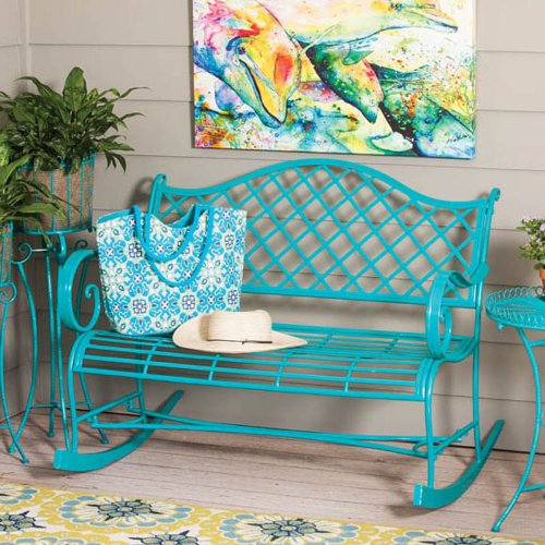 Gifted Living Powder Coated Metal Rocker Bench , Turquoise